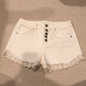 Off-white lace trim shorts